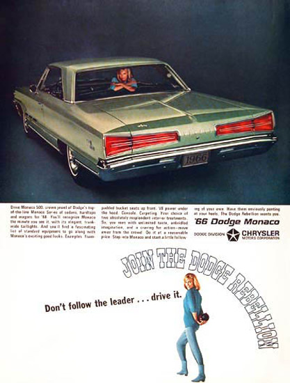 Dodge Monaco Coupe 1966 Blue Girl | Vintage Cars 1891-1970