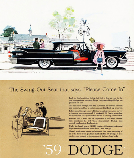 Dodge Royal Lancer 1959 Swing Out Seat | Vintage Cars 1891-1970