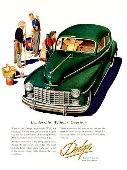 Dodge Sedan 1947 Leadership Without Question | Vintage Cars 1891-1970