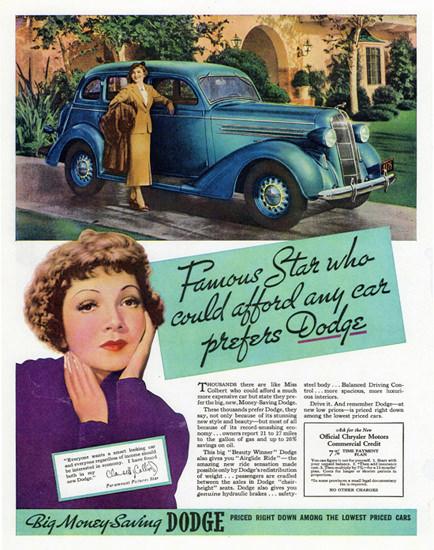 Dodge Touring Sedan 1936 Claudette Colbert | Vintage Cars 1891-1970