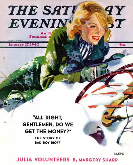 Dominice Cammerota Saturday Evening Post Tumble Sled 1940_01_27 | The Saturday Evening Post Graphic Art Covers 1931-1969