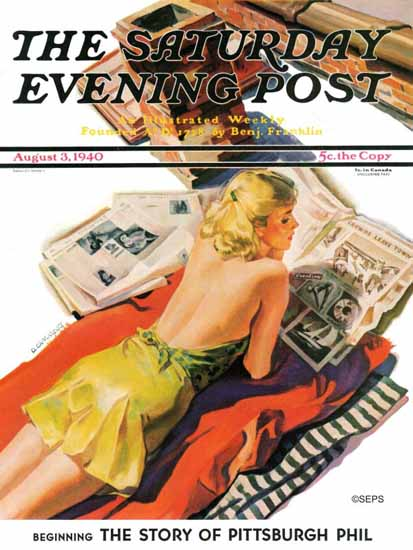 Dominice Cammerota Saturday Evening Post Up on the Roof 1940_08_03 | The Saturday Evening Post Graphic Art Covers 1931-1969