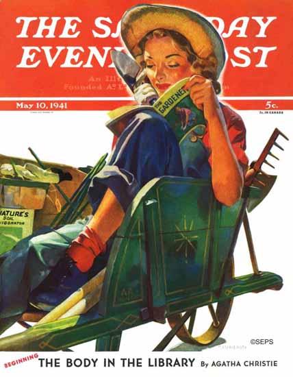 Dominice Cammerota Saturday Evening Post Wheelbarrow 1941_05_10   The Saturday Evening Post Graphic Art Covers 1931-1969