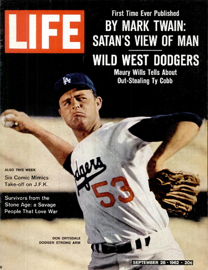 Don Drysdale Dodger strong Arm 28 Sep 1962 Copyright Life Magazine | Life Magazine Color Photo Covers 1937-1970