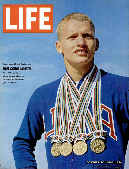 Don Schollander four Gold Medals 30 Oct 1964 Copyright Life Magazine | Life Magazine Color Photo Covers 1937-1970