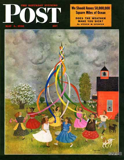 Doris Lee Saturday Evening Post Schoolyard Maypole Dance 1946_05_04 | The Saturday Evening Post Graphic Art Covers 1931-1969