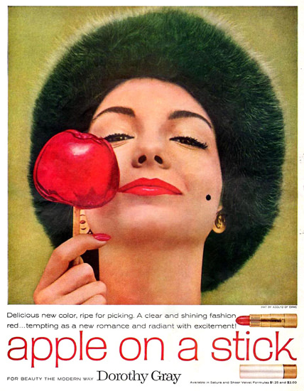 Dorothy Gray Apple On A Stick Girl 1958 | Sex Appeal Vintage Ads and Covers 1891-1970