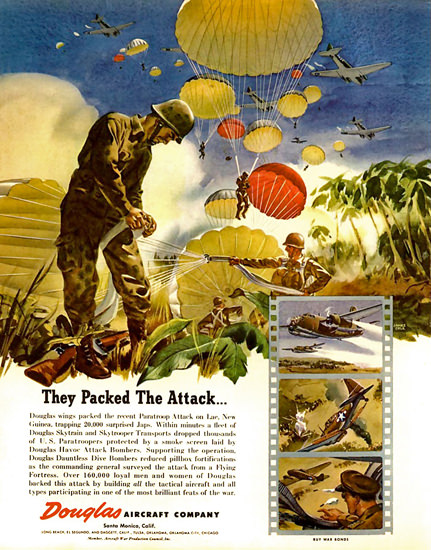 Douglas Aircraft They Packed The Attack 1944 | Vintage War Propaganda Posters 1891-1970