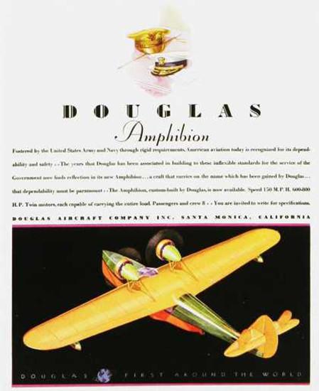 Douglas Amphibion Aircraft 1930s | Vintage Travel Posters 1891-1970