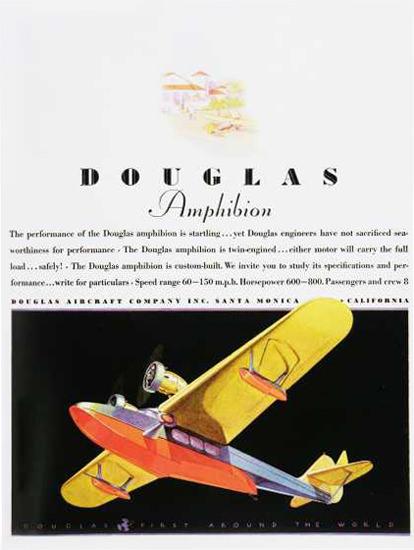 Douglas Amphibion Aircraft California 1930s | Vintage Travel Posters 1891-1970
