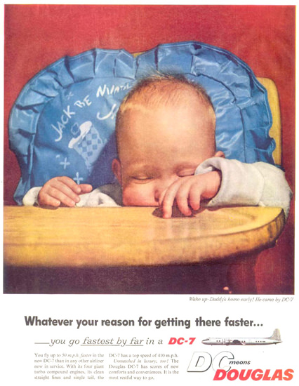 Douglas DC-7 Sleeping Baby In A Chair 1955 | Vintage Travel Posters 1891-1970