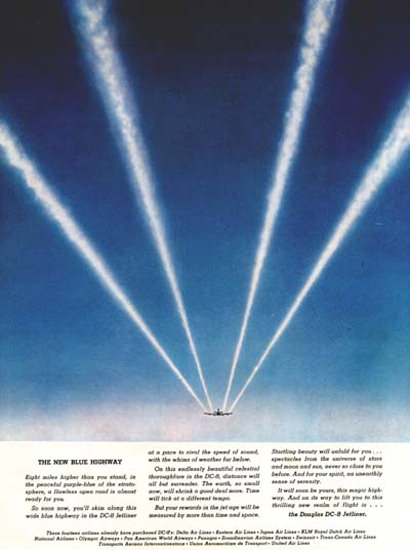 Douglas DC-8 Blur High Way 1957 Contrail Vapor | Vintage Travel Posters 1891-1970
