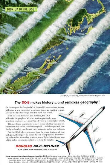 Douglas DC-8 Jetliner Makes History 1958 | Vintage Travel Posters 1891-1970