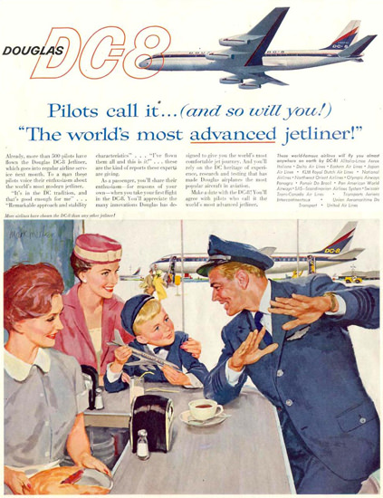 Douglas DC-8 Pilots Most Advanced Jetliner 1959 | Vintage Travel Posters 1891-1970