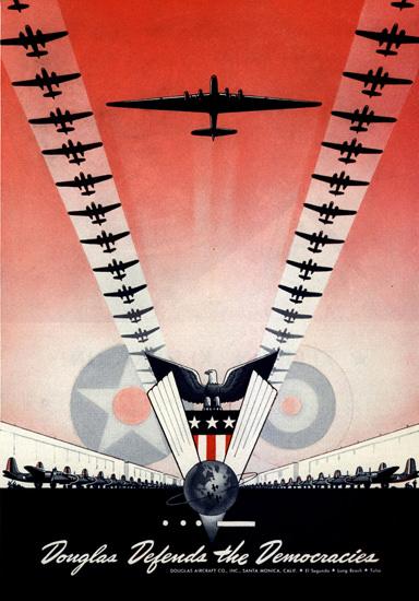 Douglas Defends The Democracies 1942 | Vintage War Propaganda Posters 1891-1970