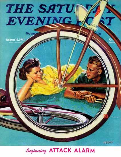 Douglass Crockwell Saturday Evening Post Bicycle Ride 1941_08_16 | The Saturday Evening Post Graphic Art Covers 1931-1969