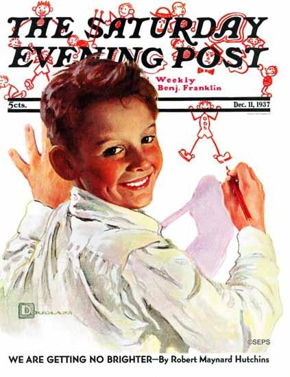 Douglass Crockwell Saturday Evening Post Boy Stick Figures 1937_12_11 | The Saturday Evening Post Graphic Art Covers 1931-1969