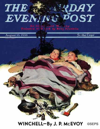 Douglass Crockwell Saturday Evening Post Camping Out 1938_08_13   The Saturday Evening Post Graphic Art Covers 1931-1969