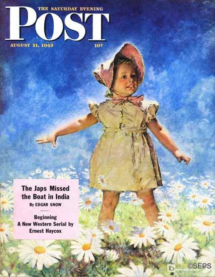 Douglass Crockwell Saturday Evening Post Daisy Daisies 1943_08_21   The Saturday Evening Post Graphic Art Covers 1931-1969