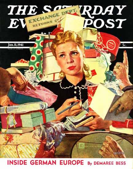 Douglass Crockwell Saturday Evening Post Gift Exchange 1941_01_11 | The Saturday Evening Post Graphic Art Covers 1931-1969