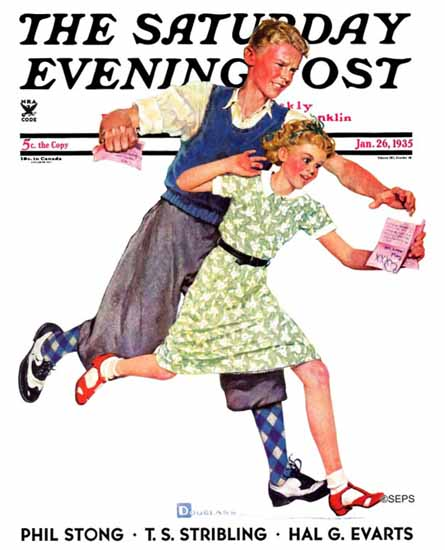 Douglass Crockwell Saturday Evening Post Love Letter 1935_01_26 | The Saturday Evening Post Graphic Art Covers 1931-1969