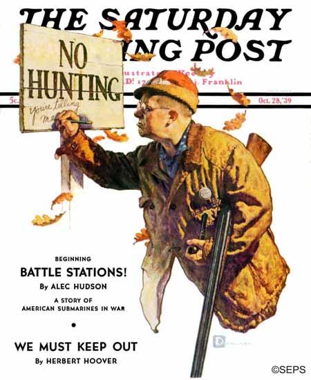 Douglass Crockwell Saturday Evening Post No Hunting 1939_10_28 | The Saturday Evening Post Graphic Art Covers 1931-1969