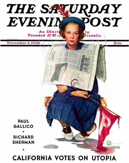 Douglass Crockwell Saturday Evening Post Rainy Football 1938_11_05   The Saturday Evening Post Graphic Art Covers 1931-1969