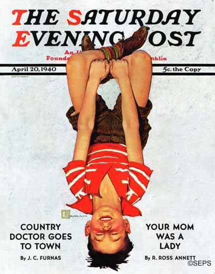 Douglass Crockwell Saturday Evening Post Upside Down 1940_04_20 | The Saturday Evening Post Graphic Art Covers 1931-1969