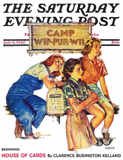 Douglass Crockwell Saturday Evening Post Waiting for Mail 1940_07_06 | The Saturday Evening Post Graphic Art Covers 1931-1969