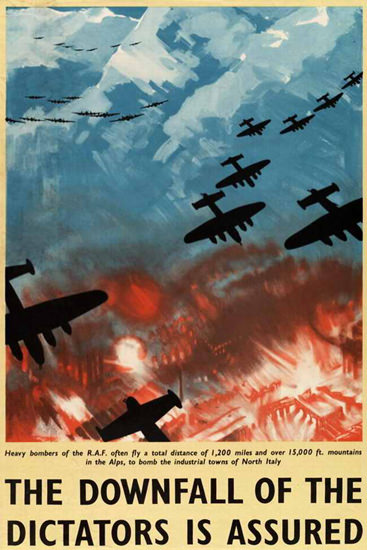 Downfall Of Dictators Heavy RAF Bombers | Vintage War Propaganda Posters 1891-1970
