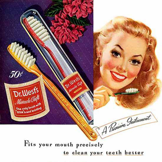 Dr Wests Toothbrush To Clean Your Teeth Better | Sex Appeal Vintage Ads and Covers 1891-1970