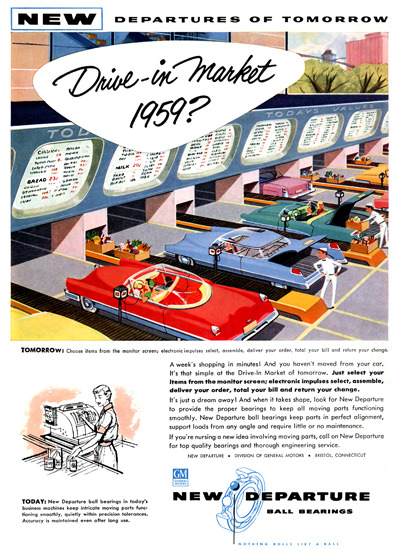 Drive-In-Market 1959 GM New Departure | Vintage Ad and Cover Art 1891-1970