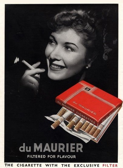 Du Maurier Cigarettes Filtered | Sex Appeal Vintage Ads and Covers 1891-1970