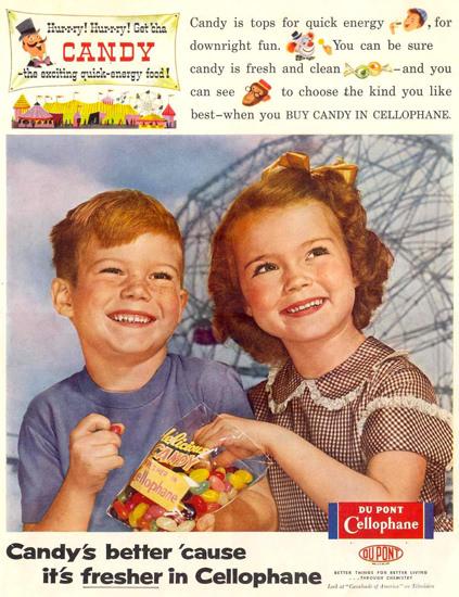 Du Pont Cellophane Kids 1955   Vintage Ad and Cover Art 1891-1970