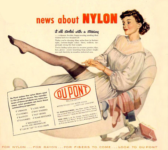 Du Pont Nylon It All Started With A Stocking 1948 | Sex Appeal Vintage Ads and Covers 1891-1970
