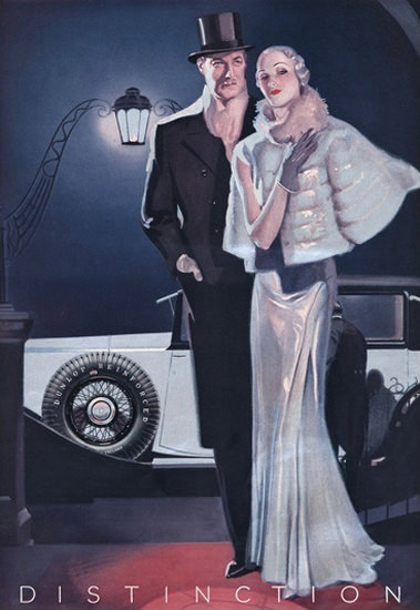 Dunlop Tires Distinction Couple In Evening Dress | Sex Appeal Vintage Ads and Covers 1891-1970