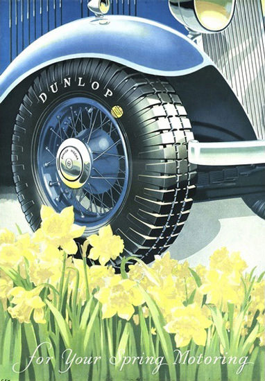 Dunlop Tires For Your Spring Morning Daffodils | Vintage Ad and Cover Art 1891-1970