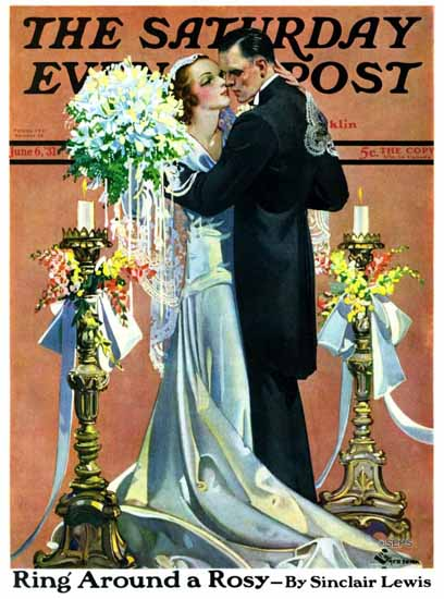 EM Jackson Saturday Evening Post Bridal Couple Dancing 1931_06_06 | The Saturday Evening Post Graphic Art Covers 1931-1969
