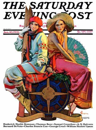 EM Jackson Saturday Evening Post Hot and Cold Vacations 1931_01_10 | The Saturday Evening Post Graphic Art Covers 1931-1969