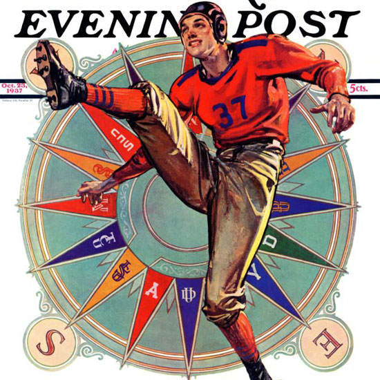 EM Jackson Saturday Evening Post Kickoff 1937_10_23 Copyright crop | Best of Vintage Cover Art 1900-1970