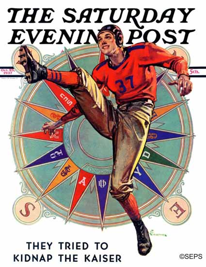 EM Jackson Saturday Evening Post Kickoff 1937_10_23   The Saturday Evening Post Graphic Art Covers 1931-1969