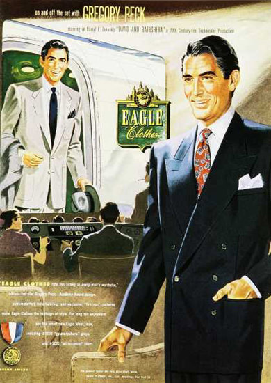Eagle Clothes Gregory Peck 1950s | Sex Appeal Vintage Ads and Covers 1891-1970