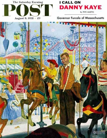 Earl Mayan Saturday Evening Post Amusement Park Carousel 1958_08_09   The Saturday Evening Post Graphic Art Covers 1931-1969
