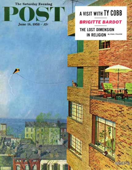 Earl Mayan Saturday Evening Post Apartment Kite Flyer 1958_06_14 | The Saturday Evening Post Graphic Art Covers 1931-1969