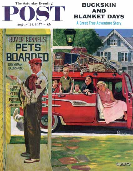 Earl Mayan Saturday Evening Post Boarding the Dog 1957_08_24 | The Saturday Evening Post Graphic Art Covers 1931-1969