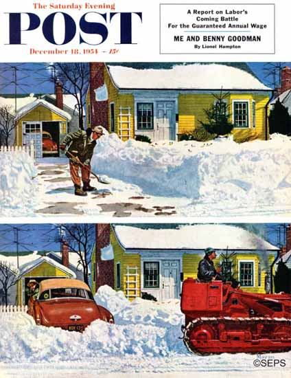 Earl Mayan Saturday Evening Post Plowed-Over Driveway 1954_12_18   The Saturday Evening Post Graphic Art Covers 1931-1969