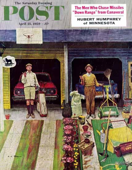 Earl Mayan Saturday Evening Post Saturday Rain 1959_04_25 | The Saturday Evening Post Graphic Art Covers 1931-1969
