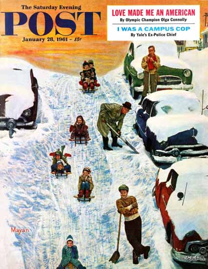Earl Mayan Saturday Evening Post Sledding and Digging Out 1961_01_28   The Saturday Evening Post Graphic Art Covers 1931-1969