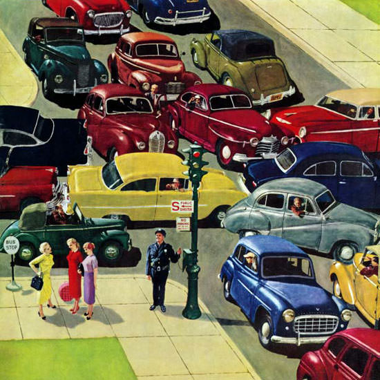 Earl Mayan Saturday Evening Post Traffic Jam 1956_04_28 Copyright crop | Best of Vintage Cover Art 1900-1970