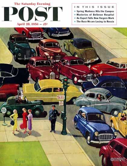 Earl Mayan Saturday Evening Post Traffic Jam 1956_04_28 | The Saturday Evening Post Graphic Art Covers 1931-1969
